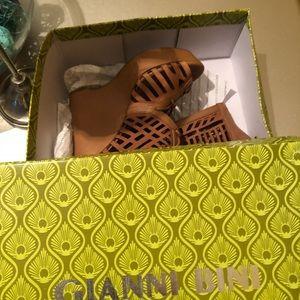 Brown leather wedge heels